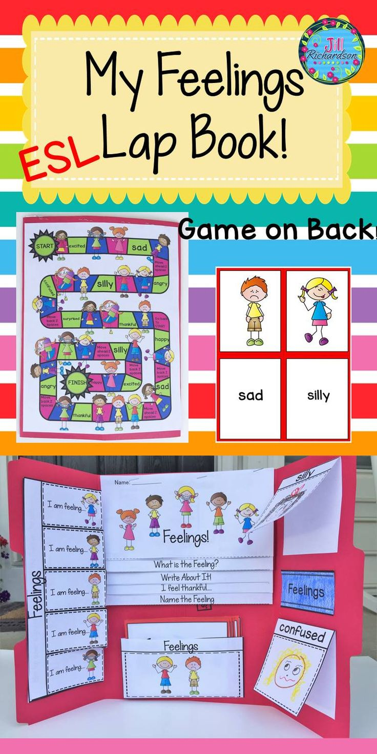"ESL/ELL Newcomers Feelings Lap Book!  Help make your English Language Learner's transition into your classroom easier by learning feelings vocabulary! This resource can be used for making a lap book or as an interactive notebook! Includes: Cover Flip book of ""Feelings"" Flap book of ""Feelings"" 8 feelings vocabulary and pictures Flaps for ""silly"" and "" confused"" Board game"