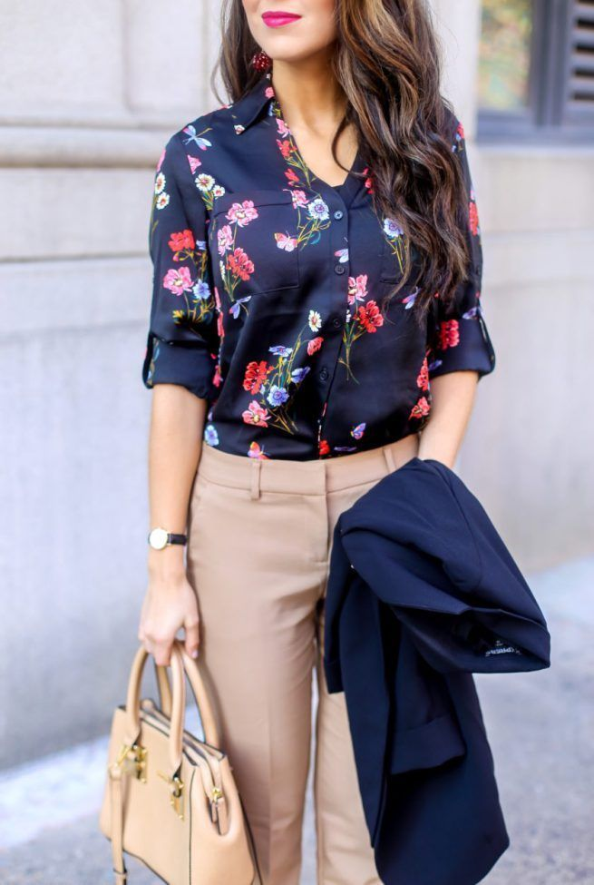 Classic Floral Blouse Styled For The Office Casual Work Outfits