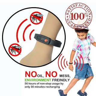 """Features & Benefits"" Repella Electronic Ultrasonic Mosquito Repellent Bracelet for Children and Adults 
