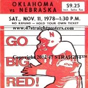 1978 Oklahoma vs. Nebraska Football Ticket Coasters™   Football Christmas Gifts! http://www.footballchristmasgifts.com/ Football Christmas Gifts for football fans! #47straight #gifts #Christmas