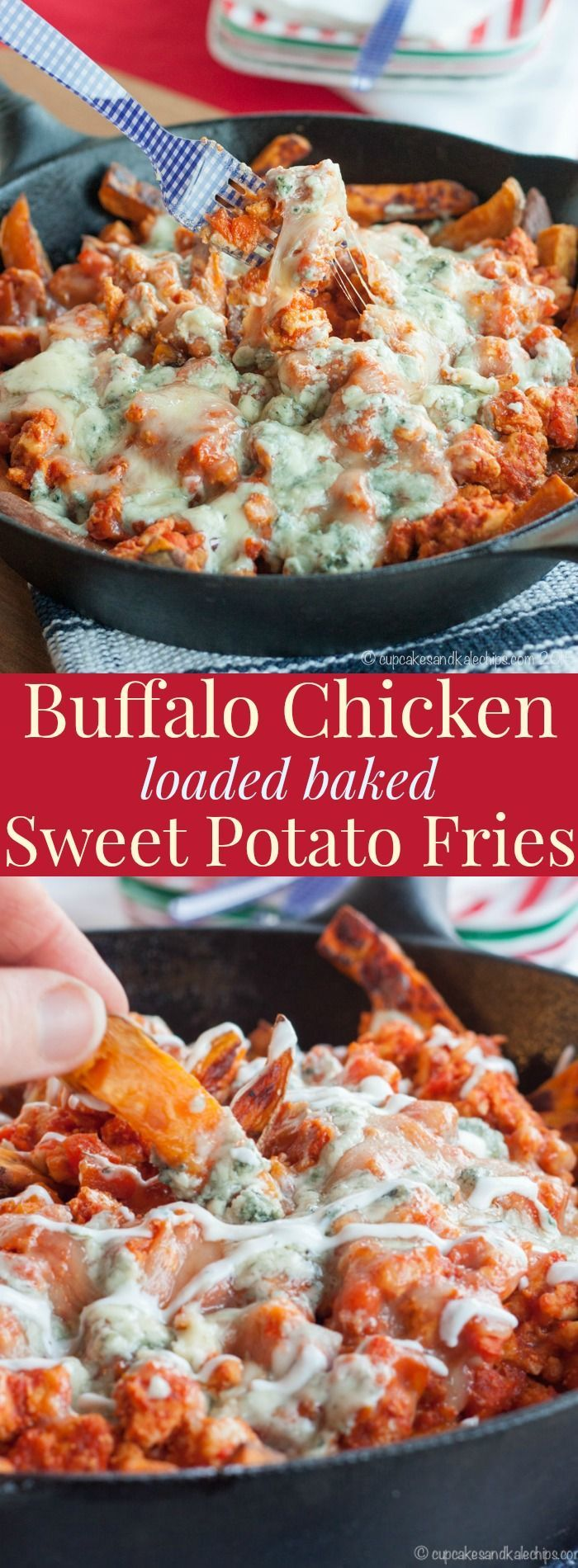 Buffalo Chicken Loaded Baked Sweet Potato Fries - a tasty twist on poutine with plenty of spicy hot wing flavor and lots of cheese