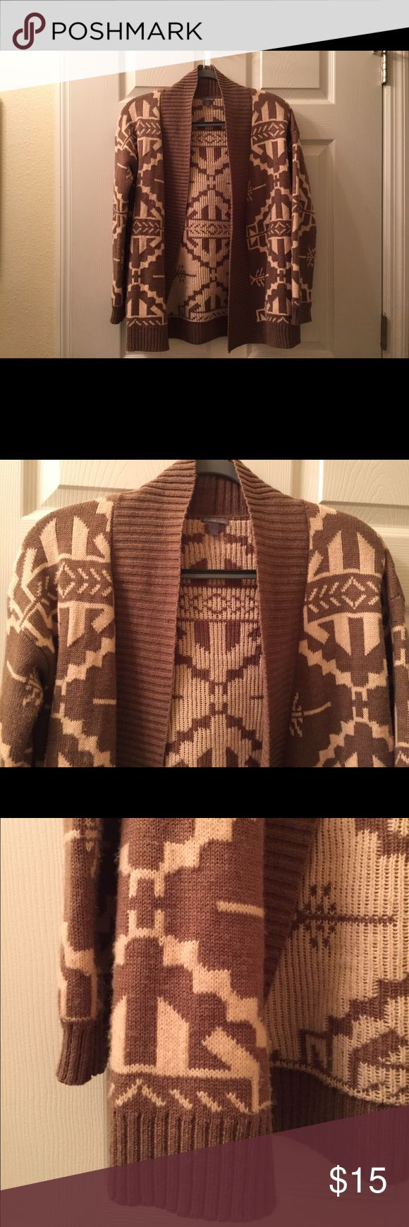 Aztec print cardigan Pink and tan Aztec print cardigan in great condition Charlotte Russe Sweaters Cardigans