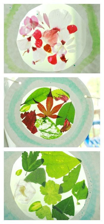 Flower Suncatcher Craft - Abstract Art from Leaves and Flowers
