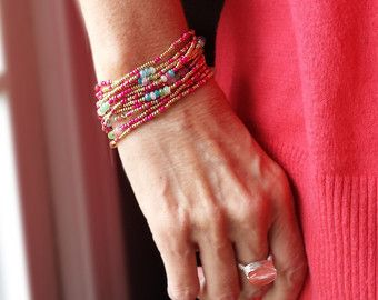 Bollywood Colorful Wrap Bracelet with Jade, Peridot, Crystal and Seed Beeds