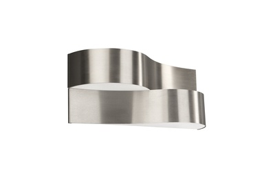 Light shines through the top and bottom of the two ribbons of stainless steel that form this curvaceous wall light, reflecting beautifully in the metal as it does so. £79.