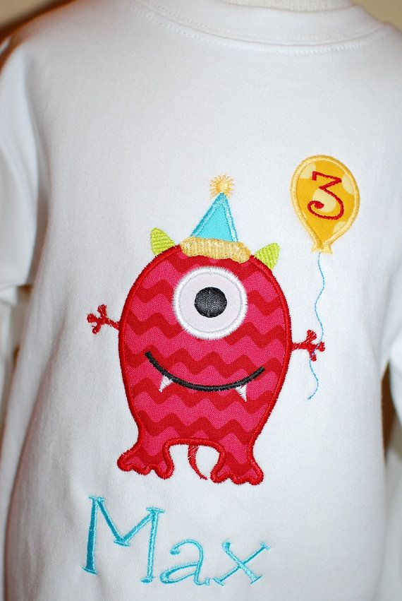 INSTANT DOWNLOAD, Machine Applique Design, Birthday Monster via Etsy