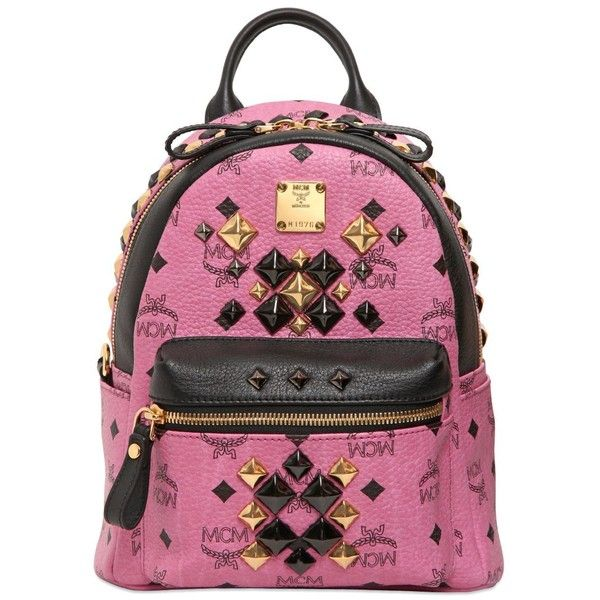 MCM Stark Brock Mini Studded Backpack (13.241.730 VND) ❤ liked on Polyvore featuring bags, backpacks, backpack, bags and backpacks, mcm, pink, mcm backpack, leather backpack, studded backpack and logo backpacks