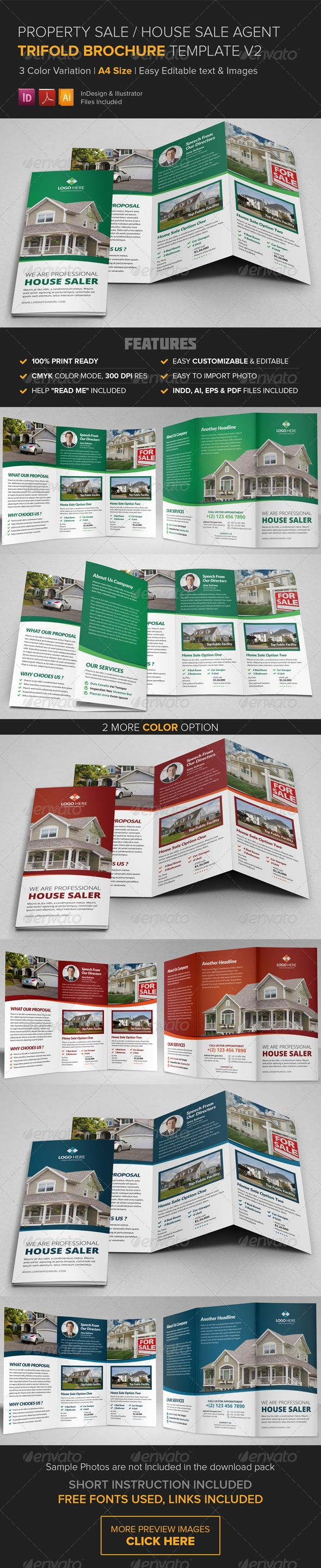Property Sale Trifold Brochure Template v2 — Vector EPS #design brochure #small business • Available here → https://graphicriver.net/item/property-sale-trifold-brochure-template-v2/8545969?ref=pxcr