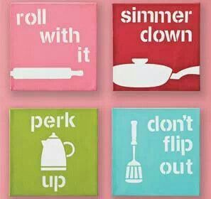 Kute kitchen decor! I need this for my Kitchen, except purple instead of pink to match my canisters! :)