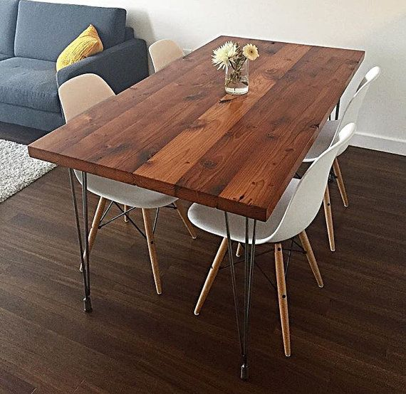 Reclaimed wood dining table with hairpin legs handmade in for Reclaimed wood portland oregon