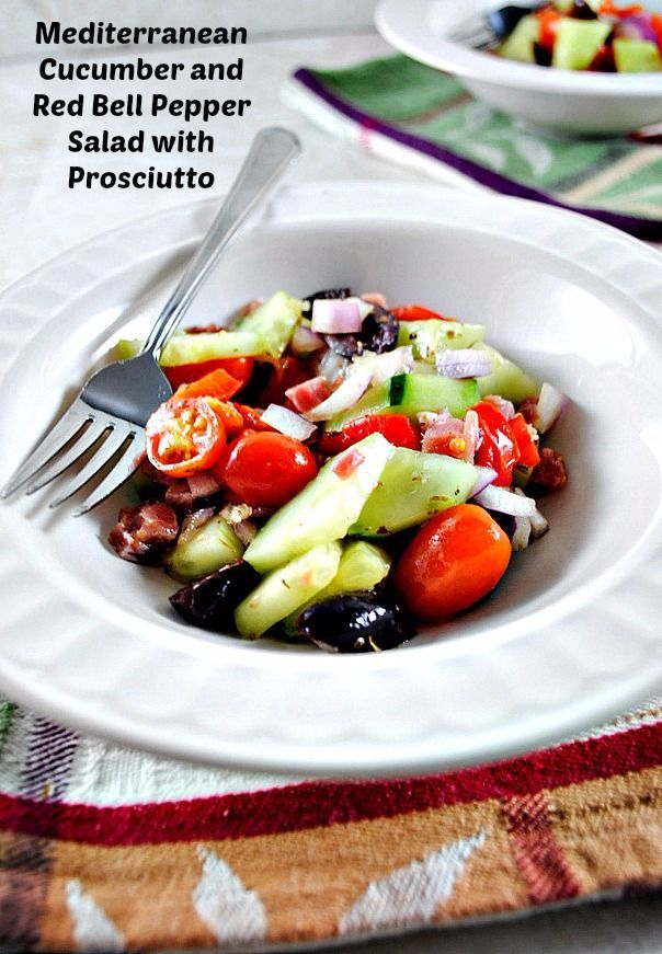 Serve this spring fresh Mediterranean cucumber salad with red bell peppers and salty prosciutto as a healthy mid-day meal, or dinner time side salad. Paleo and Whole Thirty friendly.