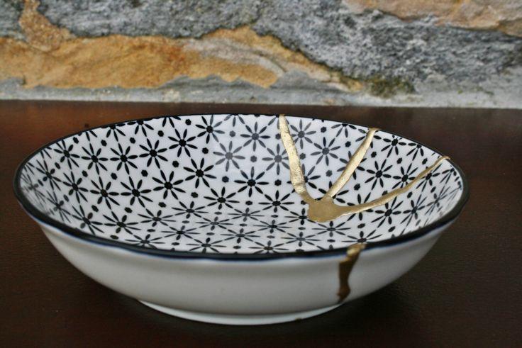 KINTSUGI BOWL, cuenco Kintsugi porcelana oriental. Colección Butterfly de KanelaSuri en Etsy