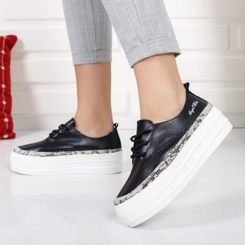 Pantofi dama Piele Persse black snake cu talpa groasa