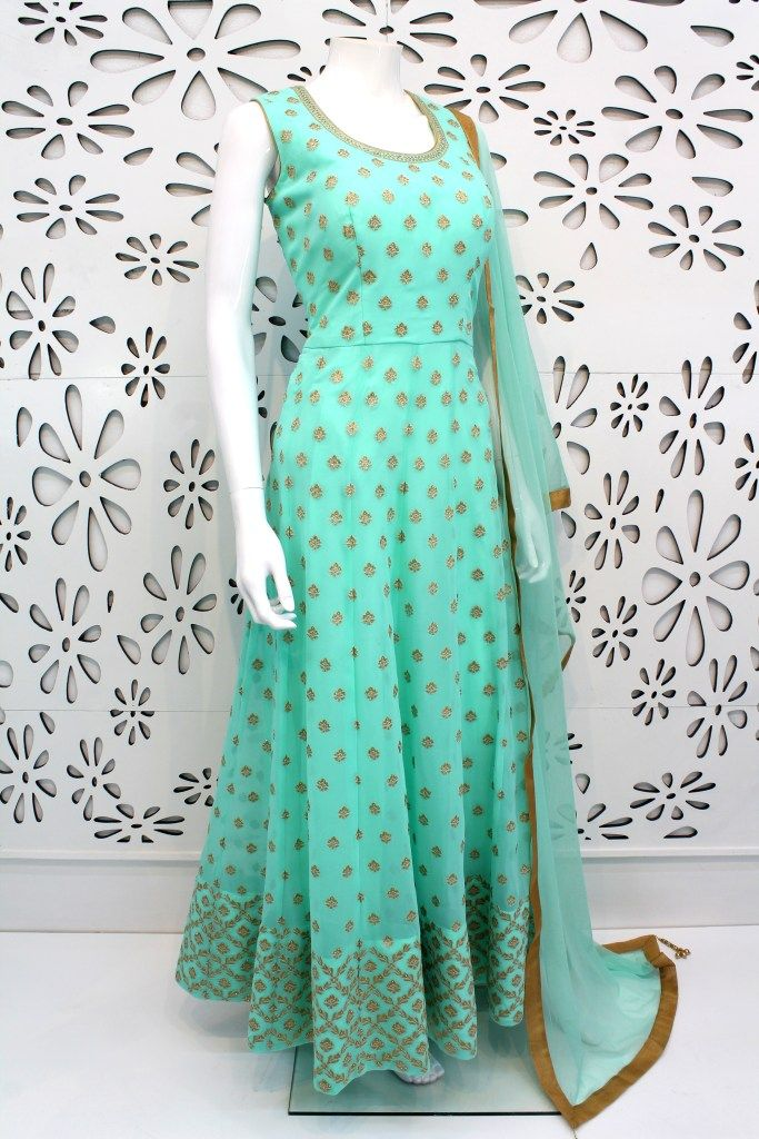 PalkhiFashion Exclusive Sea Green Pure Georgette Outfit with Attractive Designs.