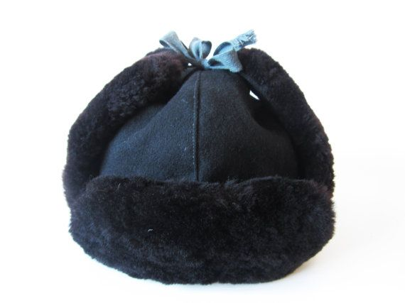 Soviet Vintage Ushanka Black Felted Wool Hat with Faux Fur Traditional Russian Winter hat