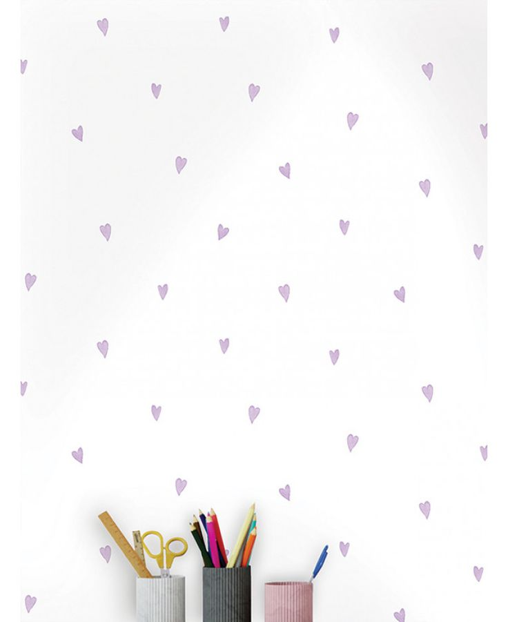 This Love Hearts Wallpaper features a simple yet striking purple heart pattern infused with silver glitter on a matte white background. Free UK delivery available