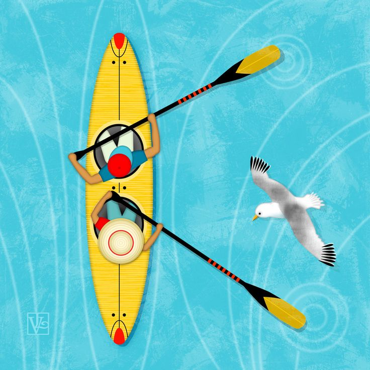 K is for Kayak and Kittiwake. K is for Kayak and Kittiwake is one of many whimsically illustrated letters I created for a collection I call Alphabet Soup.