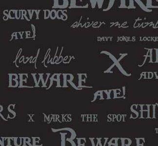 Pirate Phrases on Black by Riley Blake Designs C2573-black