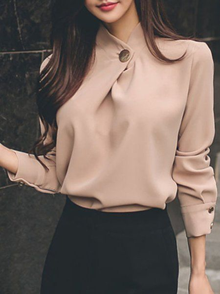 Shop Blouses & Shirts – Pink Chiffon Solid Long Sleeve Stand Collar Blouse onlin…
