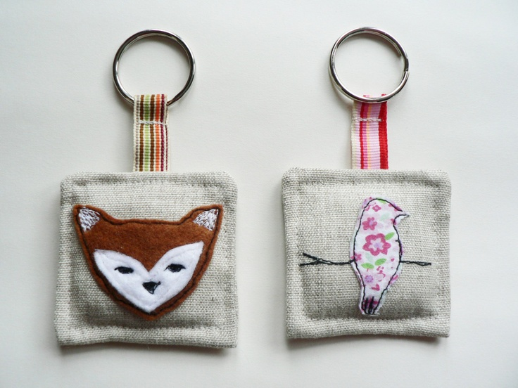 Key chain fox and bird fabric applique and machine embroidery for keys