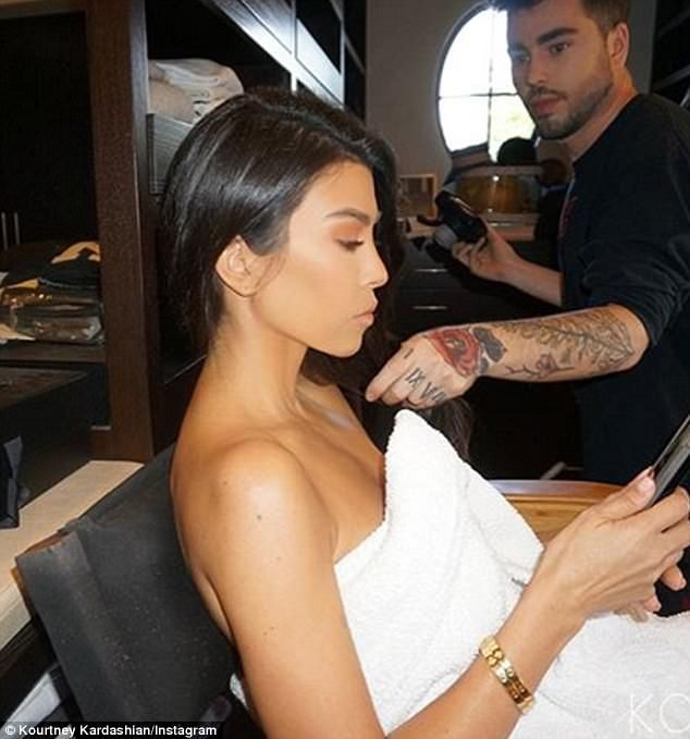 Kourtney wrote on KourtneyKardashian.com on Friday:'Before I go to bed, I apply Manuka Doctor face oil on my [décolletage], chest, hands, and feet and then put socks on to hold the moisture in'