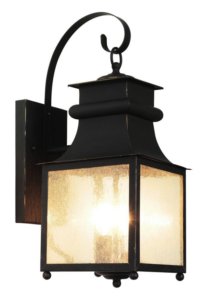 "May not be Craftsman enough in style for you, but would bridge the gap between the more ornate style of your front doors and the craftsman look you like    Trans Globe Lighting 45632 WB Garden Chimney 25"" Wall Lantern"