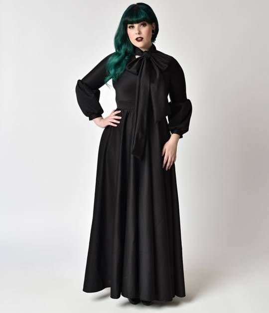 Victorian Style Plus Size Black Long Sleeve Maxi Dress