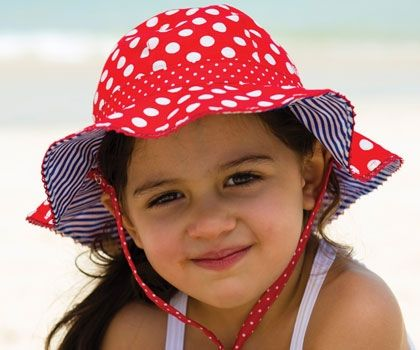 Millymook Holly Floppy - Reversible. Something a little different! This hat is made from light-weight 100% cotton. One side is navy & white striped red & white polka dot trim. The other side is red & white polka dots all over.