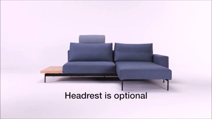 Bragi sofa bed with side table in lacquered oak. A sofa bed with an integrated lounger.