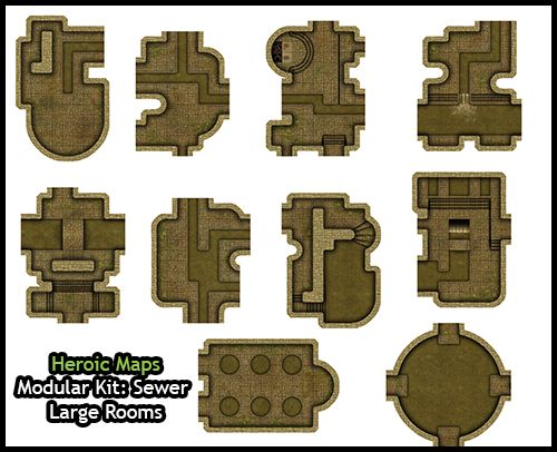 Heroic Maps - Modular Kit: Sewer Large Rooms - Heroic Maps | Caverns & Tunnels | Cities | Dungeons | Sewers | Modular Kits | DriveThruRPG.com
