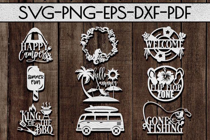 Summer sign papercut templates cutting file, vinyl…