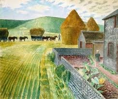 Furlongs by Eric Ravilious. Home of Peggy Angus, Southdowns, Sussex...