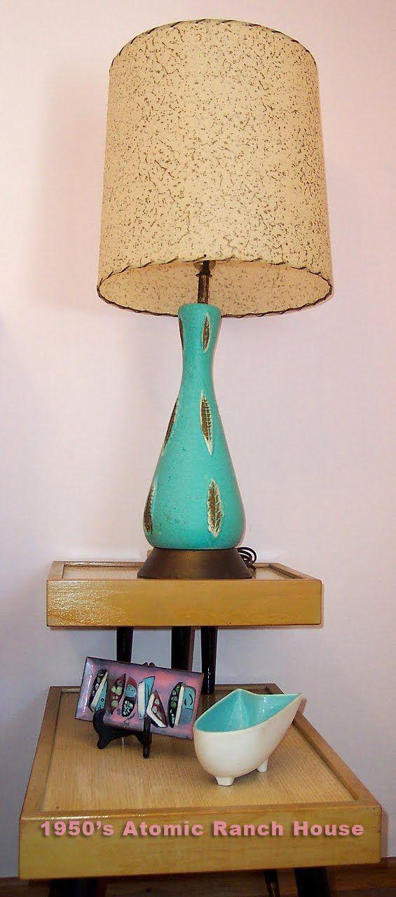 Retro Lamp in 1950's Turquoise