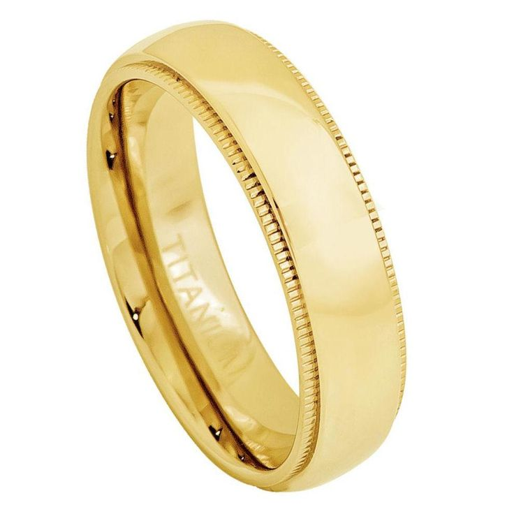 5mm Titanium Ring Yellow Gold IP Plated Domed Band with Milgrane