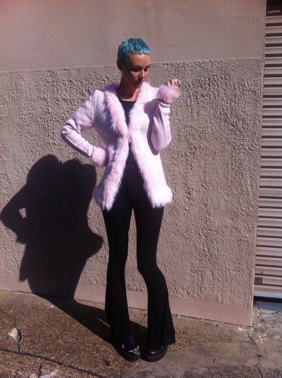 Pastel baby pink faux fur trim knit cardigan by HEAVYxMENTAL