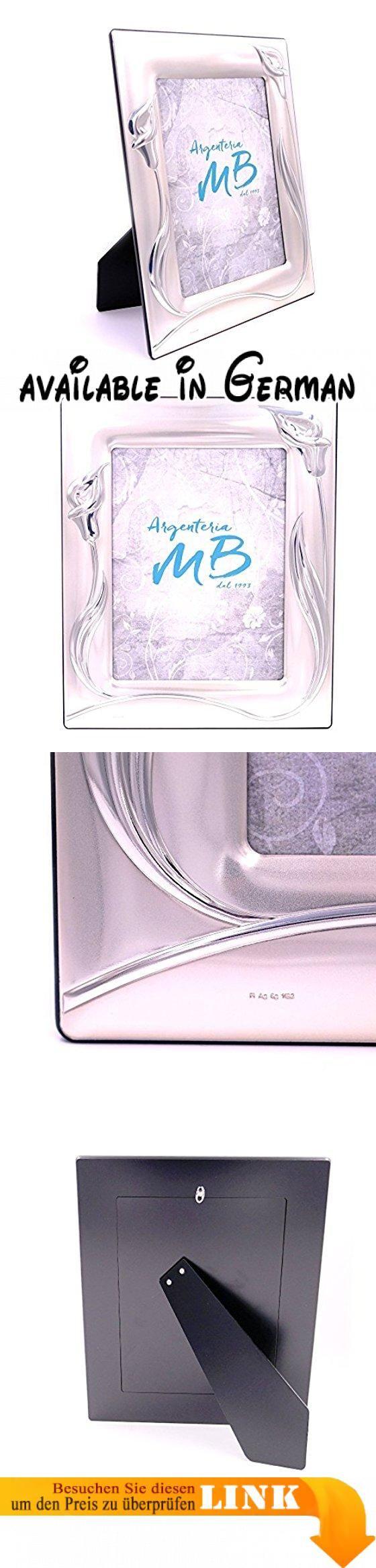 Bilderrahmen in Silber satiniert cm 18x 24Dekor Calla. Bilderrahmen, silberfarben, zweifach beschichtet. Dekor glänzend und satiniert. Rückseite schwarz. Innenmaß: 18x 24cm Außenmaß: 28x 34cm. Handwerkliches Produkt Made in Italy #Küche & Haushalt #HOME