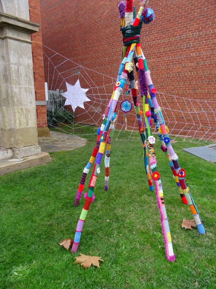 A teepee and a spider web at Dudley House Bendigo, for the Raw Arts Festival.
