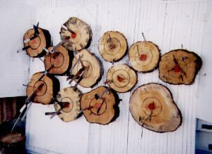 Make your own knife throwing target - log rounds with bulls eyes painted on them
