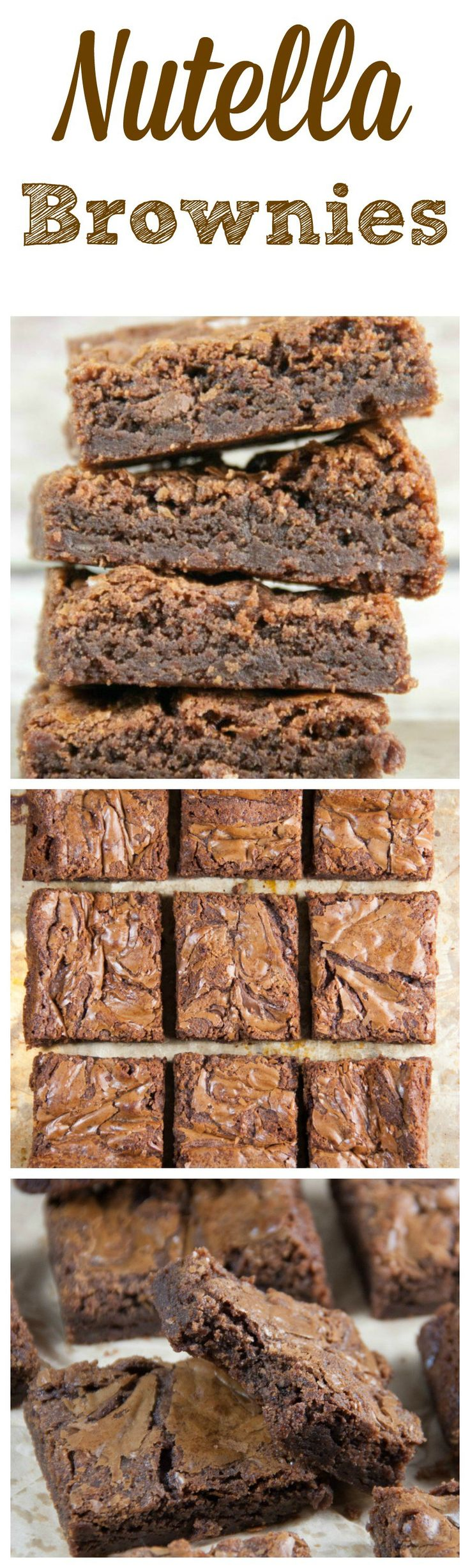 Nutella Brownies- an easy brownie recipe with Nutella! Fudgy and delicious you have to try!