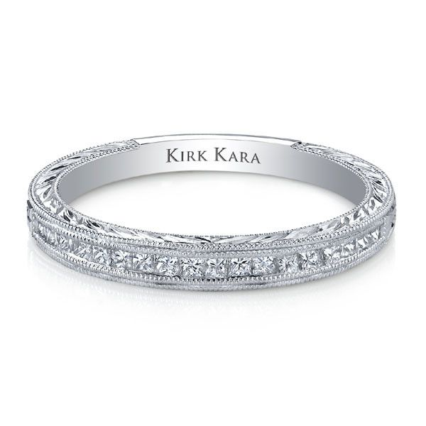 Kirk Kara Stella Hand Engraved Wedding Ring in 18kt White Gold with 0.32 Carats of Diamonds