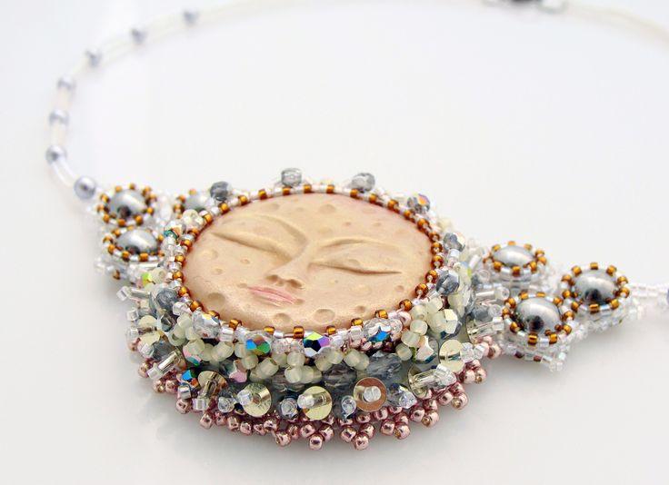 Moon Necklace, Artisan Moon Neckace, Poymer Clay Moon, Silver Gold Moon, Bead Embroidery Necklace