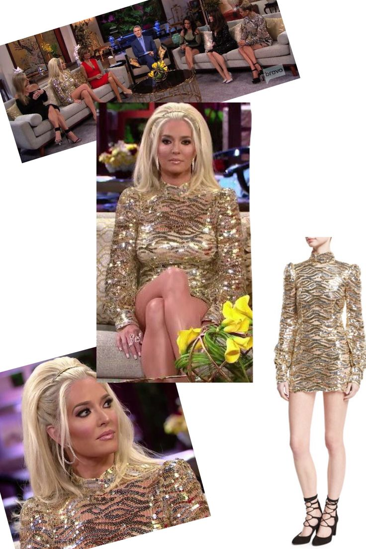Erika Girardi's Real Housewives of Beverly Hills Season 9 Reunion Dress http://www.bigblondehair.com/real-housewives/erika-girardis-real-housewives-of-beverly-hills-season-9-reunion-dress/ Marc Jacobs Gold Sequin Mini Dress