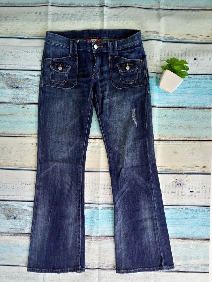 Lucky Brand Dungarees Jeans Womens Flare  Jeans Low Rise Distressed Size 2/26 #LuckyBrand #Flare