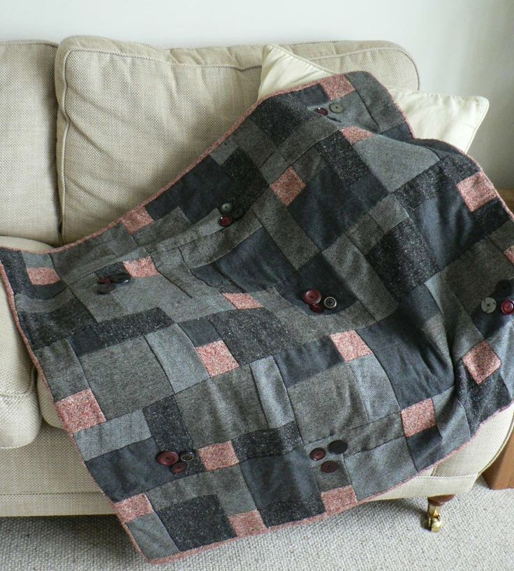 tweed patchwork throw