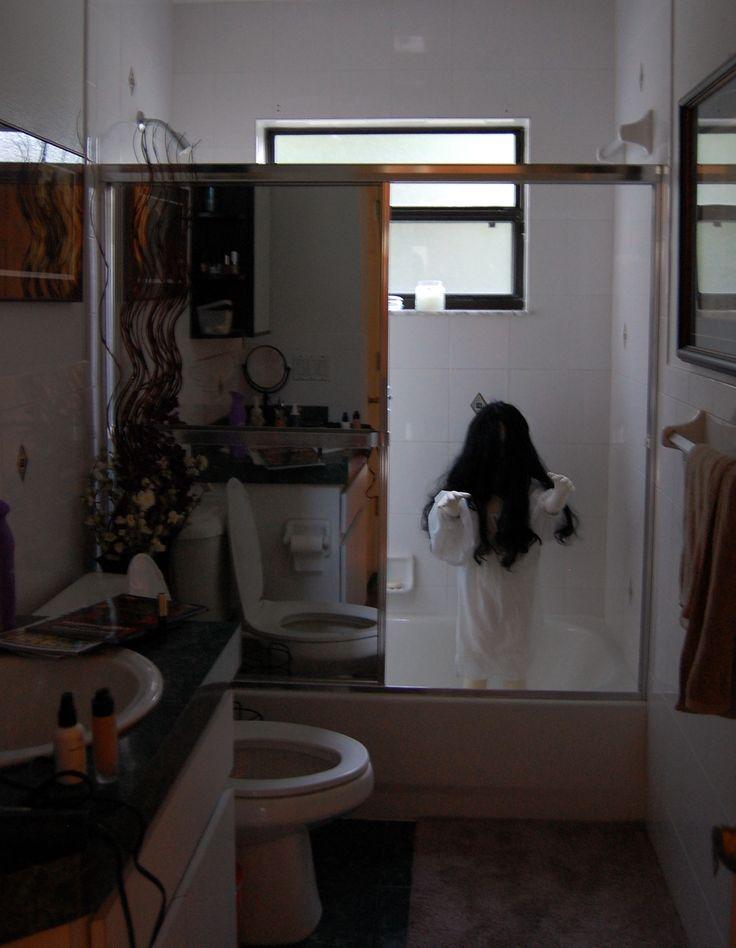 Demon Child Halloween Bathroom Decoration - Soft child mannequin in nightgown.