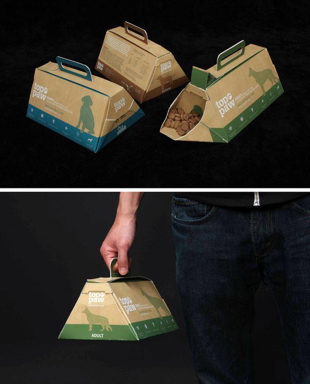 Paquetes de comida de perro para que puedas llevarla a cualquier lado y usarla sin necesidad de un bol. | 31 ejemplos de que el empaquetado puede molar