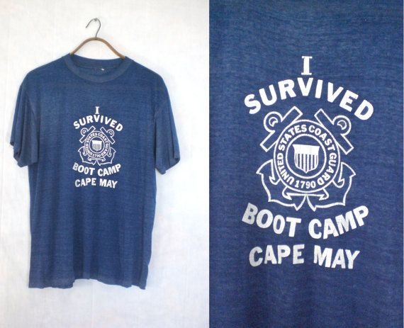 70s t-shirt size large. coast guard shirt. boot camp. by LondonVtg