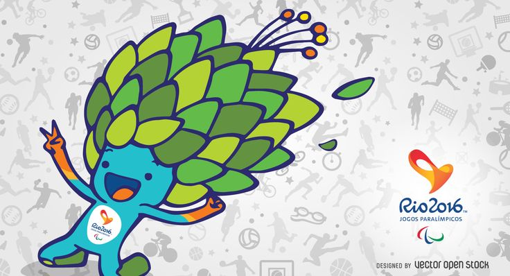 Rio 2016 Olympics banner featuring the illustrated mascot Tom. Background includes sport drawings pattern in tones of gray. Design also features the
