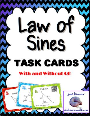 Geometry- Trig  Law of Sines task Cards from CoolMath - FunMath on TeachersNotebook.com -  (11 pages)  - Law Of Sines  Task cards With and Without QR's