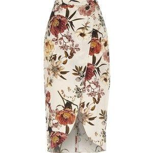 River Island Cream floral print wrap front midi skirt